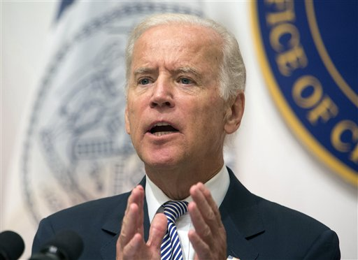 FILE - In this Sept. 10, 2015, file photo, Vice President Joe Biden speaks during a news conference at the Office of the Chief Medical Examiner in New York. Reaching for a successful end to global climate talks, Biden will call on other nations to commit to ambitious cuts in greenhouse gases at a gathering of U.S. and Chinese leaders Sept. 16, 2015, in Los Angeles.  (AP Photo/Kevin Hagen, File)