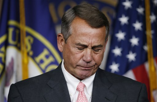 House Speaker John Boehner of Ohio pauses during a news conference on Capitol Hill in Washington, Friday, Sept. 25, 2015. In a stunning move, Boehner informed fellow Republicans on Friday that he would resign from Congress at the end of October, stepping aside in the face of hardline conservative opposition that threatened an institutional crisis. (AP Photo/Steve Helber)