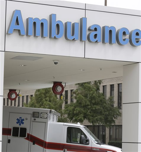 An ambulance sits at a hospital emergency center bay Monday, Sept. 28, 2015, in Houston. Medicare paid $30 million for ambulance rides for which patients got no other medical services either at the place they were picked up or at their destination. The mystery ambulance rides are part of a bigger problem with Medicare payments for transporting patients, according to a federal audit being released Tuesday. (AP Photo/Pat Sullivan)
