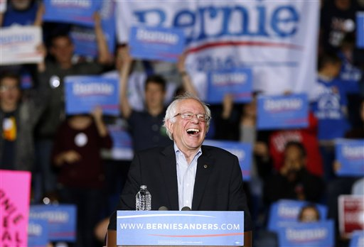 Democratic presidential candidate, Sen. Bernie Sanders, I-Vt,  speaks during a campaign rally in Springfield, Mass., Saturday, Oct. 3, 2105. (AP Photo/Michael Dwyer)