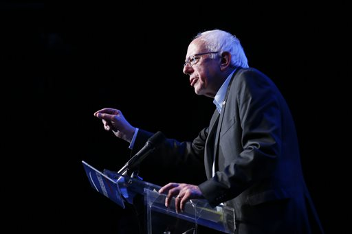 Democratic presidential candidate Sen. Bernie Sanders, I-Vt., speaks during a fundraiser at the Avalon Hollywood, Wednesday, Oct. 14, 2015, in Hollywood, Calif. (AP Photo/Danny Moloshok)