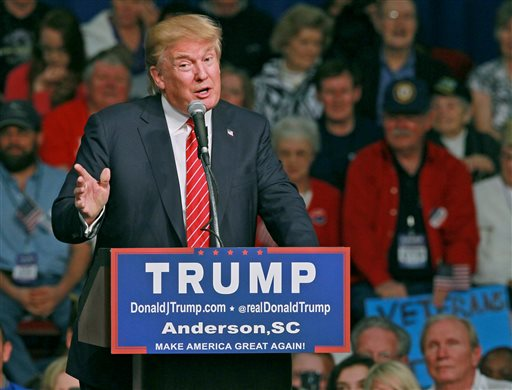Republican presidential candidate Donald Trump speaks Monday, Oct. 19, 2015, in Anderson, S.C. (Ken Ruinard/The Independent-Mail via AP) SENECA NEWS OUT; MANDATORY CREDIT