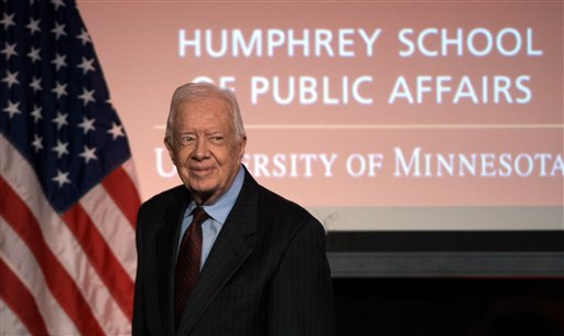 Former President Jimmy Carter participates in a tribute to former Vice President Walter Mondale in Washington, Tuesday, Oct. 20, 2015. (AP Photo/Molly Riley)