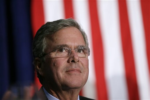 In this photo taken Oct. 6, 2015, Republican presidential candidate former Florida Gov. Jeb Bush waits on stage in Davenport, Iowa. Hillary Rodham Clinton is dominating the money hunt in the presidential campaign. She's collecting more bigger-dollar contributions than any candidate in either party among 26 states. The Associated Press' review found that Republican Ben Carson was the second-best fundraiser in 10 states among those who gave at least $200 this election cycle. The retired neurosurgeon is ahead of former Republican Gov. Jeb Bush of Florida. (AP Photo/Charlie Neibergall)