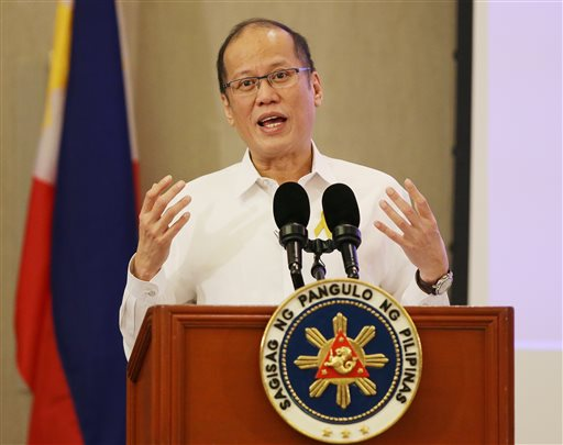 Philippine President Benigno Aquino III answers questions from reporters during a meeting with members of the Foreign Correspondents Association of the Philippines in suburban Paranaque, south of Manila, Philippines on Tuesday, Oct. 27, 2015. Aquino said he supports the U.S. naval maneuvers as an assertion of freedom of navigation and as a means to balance power in the region. A U.S. Navy ship sailed near the artificial island built by China in the South China Sea where several islands are claimed by the Philippines and other countries. (AP Photo/Aaron Favila)