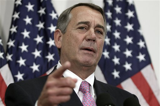 Outgoing House Speaker John Boehner of Ohio talks with reporters on Capitol Hill in Washington, Tuesday, Oct. 27, 2015. House Republican leaders on Tuesday pushed toward a vote on a two-year budget deal despite conservative opposition, relying on the backing of Democrats for the far-reaching pact struck with President Barack Obama. In his last days as speaker, John Boehner was intent on getting the measure through Congress and head off a market-rattling debt crisis next week and a debilitating government shutdown in December. The deal also would take budget showdowns off the table until after the 2016 presidential and congressional elections, a potential boon to the eventual GOP nominee and incumbents facing tough re-election fights. (AP Photo/Lauren Victoria Burke)
