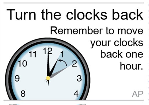 Graphic to be used as reminder to turn clocks back an hour; 1c x 1 inches; 46.5 mm x 25 mm;