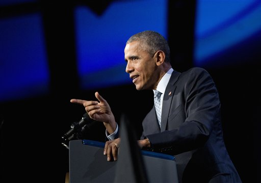 President Barack Obama speaks at the 122nd International Association of Chiefs of Police Annual Conference, Tuesday, Oct. 27, 2015, in Chicago. Obama thanked the law enforcement leaders for the sacrifices they make and the work they do each day to keep their communities safe. (AP Photo/Pablo Martinez Monsivais)