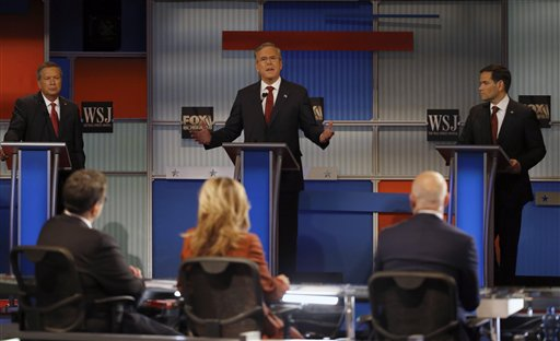Jeb Bush speaks as John Kasich, left, and Marco Rubio listen during Republican presidential debate at Milwaukee Theatre, Tuesday, Nov. 10, 2015, in Milwaukee. (AP Photo/Morry Gash)