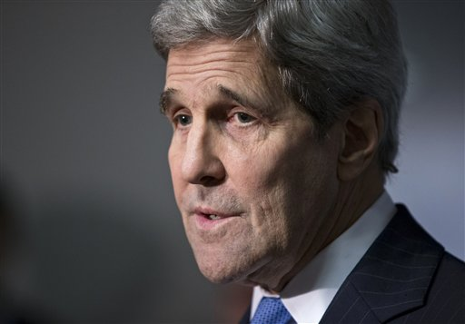 Secretary of State Kerry speaks to reporters  on Capitol Hill in Washington, Thursday, Nov. 19, 2015, after briefing members of the Senate Intelligence Committee on the U.S. strategy in Syria in the wake of the Paris terror attack. (AP Photo/J. Scott Applewhite)