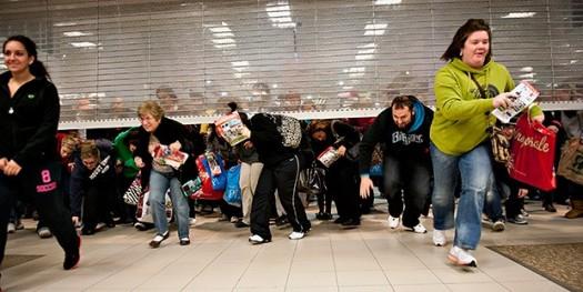 The madness begins as shopper descend.