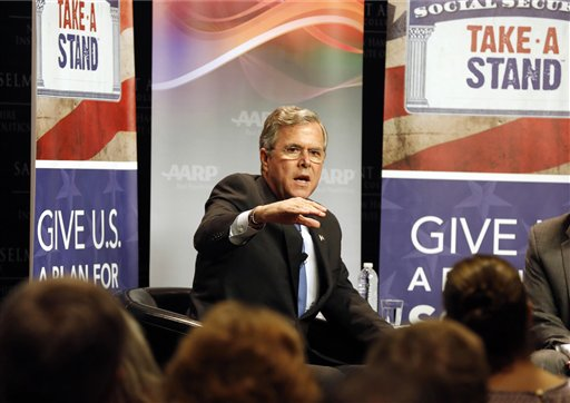 FILE - In this Dec. 8, 2015 file photo, Republican presidential candidate former Florida Gov. Jeb Bush speaks in Manchester, N.H. Bush stubbornly sticks with his wonky approach to the 2016 campaign, even as he continues to falls off the pace. The portion of registered Republican voters who think Bush could win the general election drops to 40 percent in a new Associated Press-GfK poll. (AP Photo/Jim Cole, File)