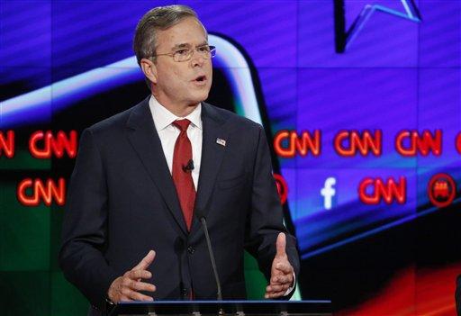 Jeb Bush speaks during the CNN Republican presidential debate at the Venetian Hotel & Casino on Tuesday, Dec. 15, 2015, in Las Vegas. (AP Photo/John Locher)