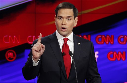 Marco Rubio makes a point during the CNN Republican presidential debate at the Venetian Hotel & Casino on Tuesday, Dec. 15, 2015, in Las Vegas. (AP Photo/John Locher)