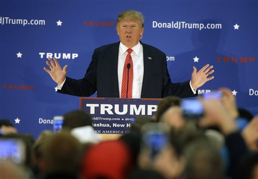 Republican presidential candidate, businessman Donald Trump addresses an audience during a campaign event Monday, Dec. 28, 2015, in Nashua, N.H. (AP Photo/Steven Senne)