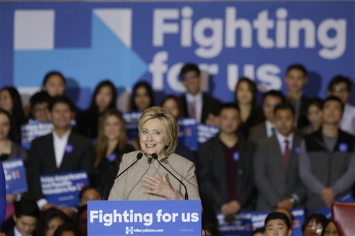Democratic presidential hopeful former Secretary of State Hillary Clinton addresses Asian American and Pacific Islander supporters in San Gabriel, Calif., on Thursday, Jan. 7, 2016. Clinton traveled to Southern California to rally voters of Asian American and Pacific Islander descent, looking to tap into the nation's fastest growing racial minority. (AP Photo/Damian Dovarganes)