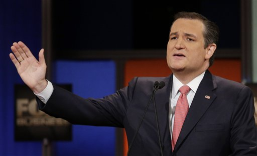 Republican presidential candidate, Sen. Ted Cruz, R-Texas, speaks during the Fox Business Network Republican presidential debate at the North Charleston Coliseum, Thursday, Jan. 14, 2016, in North Charleston, S.C. (AP Photo/Chuck Burton)