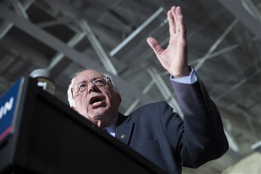 Democratic presidential candidate Sen. Bernie Sanders, I-Vt., speaks during a campaign rally at Grand View University, on Sunday, Jan. 31, 2016, in Des Moines, Iowa. (AP Photo/Evan Vucci)