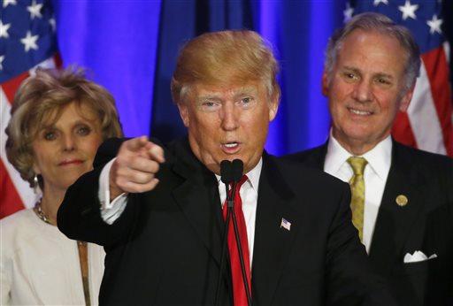Republican presidential candidate Donald Trump speaks during a South Carolina Republican primary night event, Saturday, Feb. 20, 2016 in Spartanburg, S.C. (AP Photo/Paul Sancya)