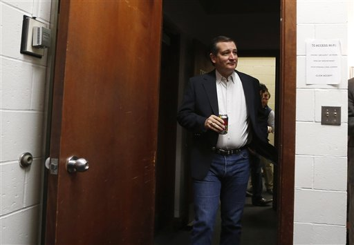 Republican presidential candidate, Sen. Ted Cruz arrives backstage at a campaign stop, Friday, March 4, 2016, at the University of Maine in Orono, Maine.(AP Photo/Robert F. Bukaty)