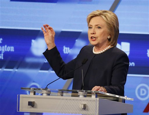 Democratic presidential candidate, Hillary Clinton, speaks at the Univision, Washington Post Democratic presidential debate at Miami-Dade College, Wednesday, March 9, 2016, in Miami. (AP Photo/Wilfredo Lee)