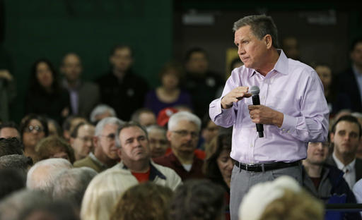 Republican presidential candidate Ohio Gov. John Kasich speaks during a town hall meeting at the Ehrnfelt Recreation Center, Sunday, March 13, 2016, in Strongsville, Ohio. (AP Photo/Tony Dejak)