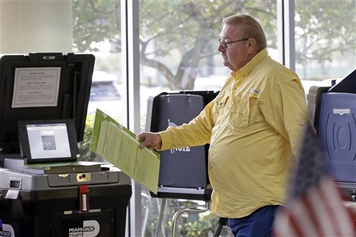 FILE - In this Feb. 29, 2016, file photo, David Labrie prepares to cast his ballot during early voting in Miami. There's a big difference between north Florida and South Florida. As different as Alabama and New England. And on March 15, those distinctions will likely play out as Florida voters decide who to give 99 Republican delegates to in the race for president.(AP Photo/Alan Diaz, File)