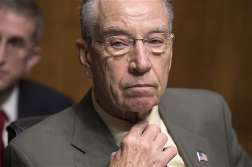 Senate Judiciary Committee Chairman Chuck Grassley, R-Iowa, whose panel is responsible for vetting judicial appointments, waits for the start of a hearing shortly after President Barack Obama announced Judge Merrick Garland as his nominee to replace the late Justice Antonin Scalia on the Supreme Court, on Capitol Hill in Washington, Wednesday, March 16, 2016. (AP Photo/J. Scott Applewhite)