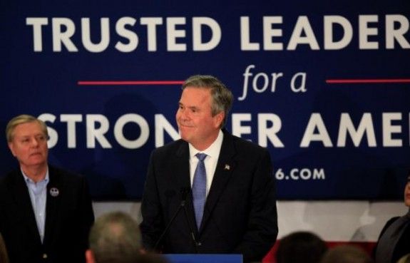 Republican U.S. presidential candidate Jeb Bush announces that he is suspending his presidential campaign at a primary election night party in Columbia, South Carolina, February 20, 2016. REUTERS/Randall Hill