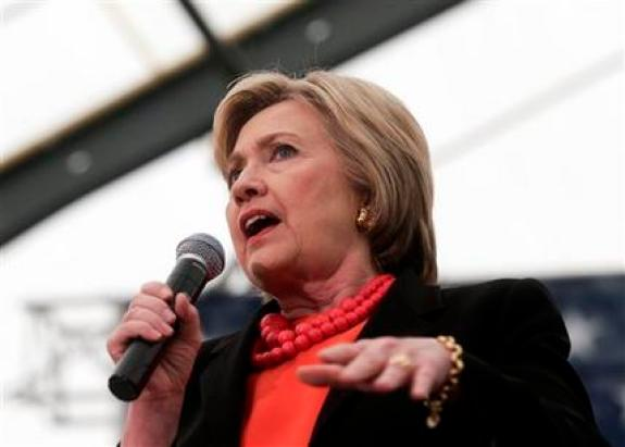 Democratic presidential candidate Hillary Clinton speaks during a rally in Syracuse, N.Y., Friday, April 1, 2016. After months of campaigning, Bernie Sanders is finally getting under Hillary Clinton's skin. While her attacks on her primary rival once seems carefully calculated, the Democratic front-runner is now showing flashes of real angry with Sanders _ irritation that could undermine her efforts to unite the party to take on Donald Trump. (AP Photo/Mike Groll)