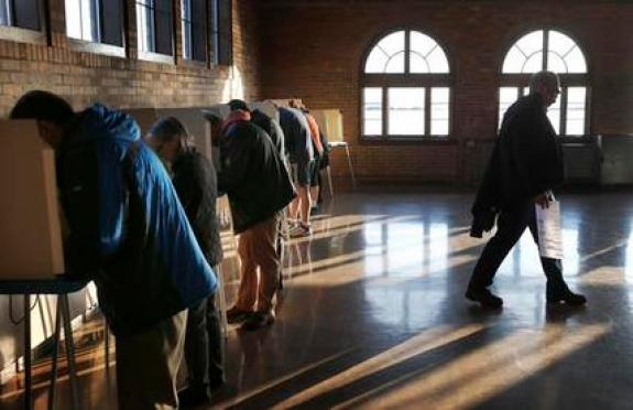 Wisconsin voters cast their ballots in the state's primary at the South Shore Park Pavilion on Tuesday, April 5, 2016, in Milwaukee. (AP Photo/Charles Rex Arbogast)