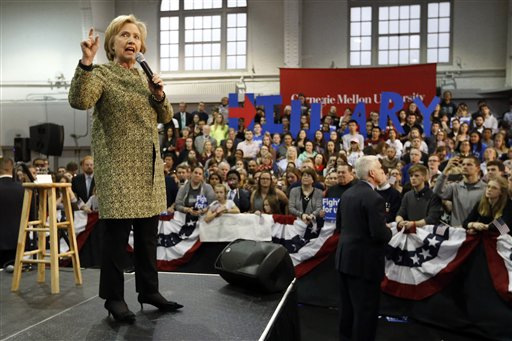 Democratic presidential candidate Hillary Clinton speaks at Carnegie Mellon University on a campaign stop, Wednesday, April 6, 2016, in Pittsburgh. (AP Photo/Keith Srakocic)