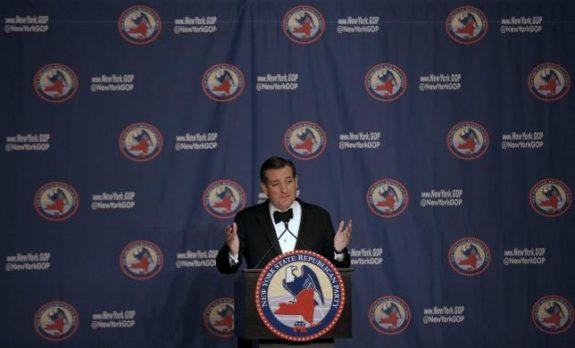 Republican U.S. presidential candidate Ted Cruz speaks at the 2016 New York State Republican Gala in New York City, April 14, 2016. REUTERS/Brendan McDermid