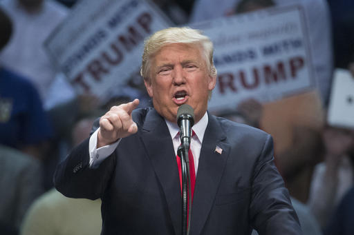 Republican presidential candidate Donald Trump speaks during a campaign stop at the First Niagara Center, Monday, April 18, 2016, in Buffalo, N.Y. (AP Photo/John Minchillo)