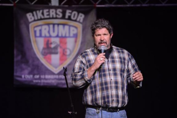 Organizer Chris Cox speaks at a Bikers for Trump 2016 rally at Jergel's Rhythm Grille in Warrendale, Pennsylvania April 24, 2016. REUTERS/Alan Freed/File Photo