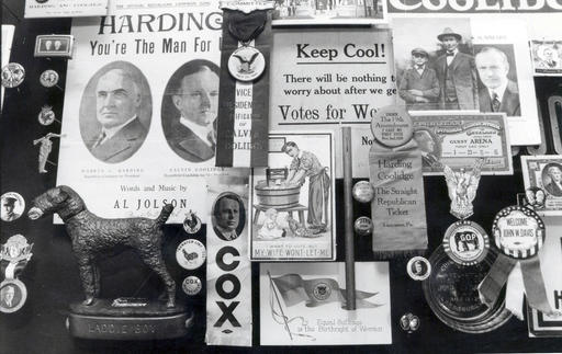 In this 1989 photo, a montage of memorabilia from past political campaigns past is laid out to dry in the rare book room of the University of Hartford's Museum of American Political Life in Hartford, Conn. J. Doyle DeWitt, president of The Travelers Insurance Company in the 1950's, donated thousands of items from his personal collection to the university. Hartford attorney Bruce Rubenstein also donated hundreds of items to the collection, and is threatening to sue the university which in 2016 is planning to sell the collection. (Sherry Peters/The Hartford Courant via AP)