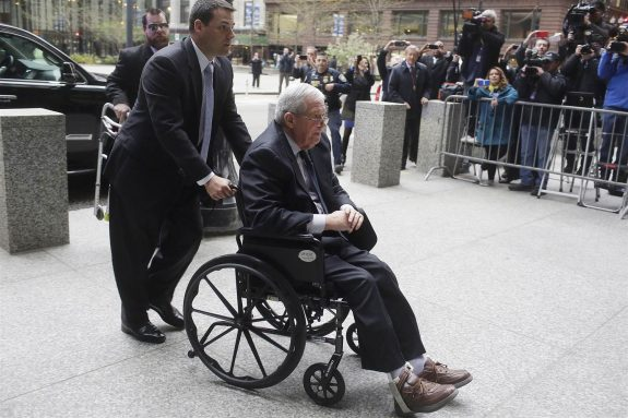 Disgrated and former Speaker of the House Dennis Hastert on his way to sentencing and prison.