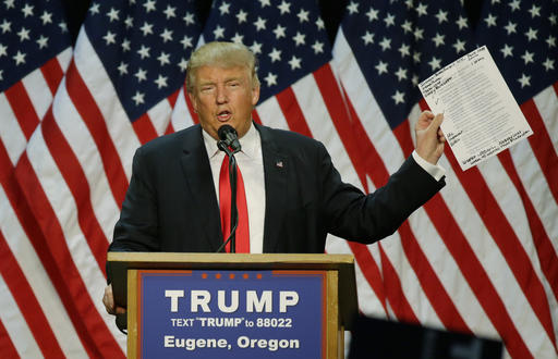 Republican presidential candidate Donald Trump holds up a sheet of talking points and notes as he speaks during a rally in Eugene, Ore., Friday, May 6, 2016. (AP Photo/Ted S. Warren)