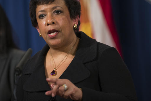 Attorney General Loretta Lynch speaks during a news conference at the Justice Department in Washington, Monday, May 9, 2016. North Carolina Gov. Pat McCrory's administration sued the federal government Monday in a fight for a state law that limits protections for lesbian, gay, bisexual and transgender people. (AP Photo/Evan Vucci)