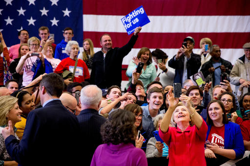 Democratic presidential candidate Hillary Clinton takes a group selfie after speaking at a get out the vote event at Transylvania University in Lexington, Ky., Monday, May 16, 2016. (AP Photo/Andrew Harnik)