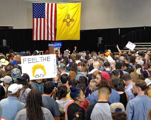 Thousands of Bernie Sanders supporters pack the Albuquerque Convention Center in Albuquerque, N.M., waiting for his arrival Friday May 20, 2016. (AP Photo/Susan Montoya Bryan)