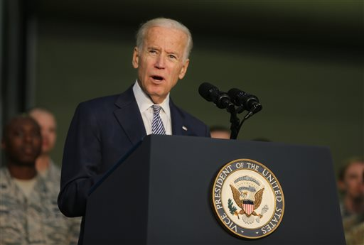 FILE - In this March 7, 2016 file photo, Joe Biden, the U.S. Vice President talks to the U.S. military personnel at an Air Base in United Arab Emirates. Biden is set to deliver the commencement speech at the graduation ceremony for the U.S. Military Academy's class of 2016. The graduation ceremony starts at 10 a.m. Saturday, May 21, 2016, at Michie Stadium on the West Point grounds along the Hudson River 50 miles north of New York City. (AP Photo/Kamran Jebreili, File)