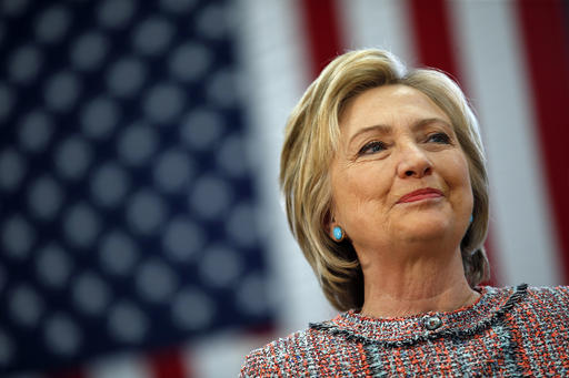 Democratic presidential candidate Hillary Clinton pauses as she speaks at a rally at Hartnell College, Wednesday, May 25, 2016, in Salinas, Calif. (AP Photo/John Locher)