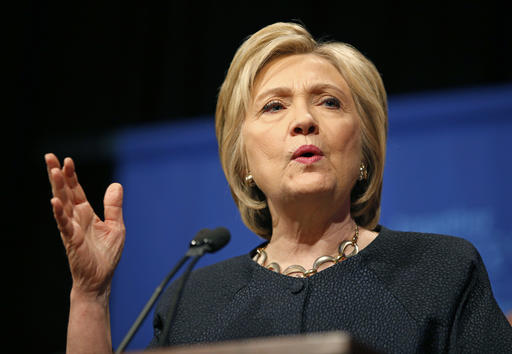 Democratic presidential candidate Hillary Clinton speaks at a United Food and Commercial Workers International union Legislative and Political Affairs conference, Thursday, May 26, 2016, in Las Vegas. Clinton was supposed to have turned over all work-related emails to the State Department to be released to the public. But an agency audit found at least three emails never seen before — including Clinton's own explanation of why she wanted her emails kept private. (AP Photo/John Locher)