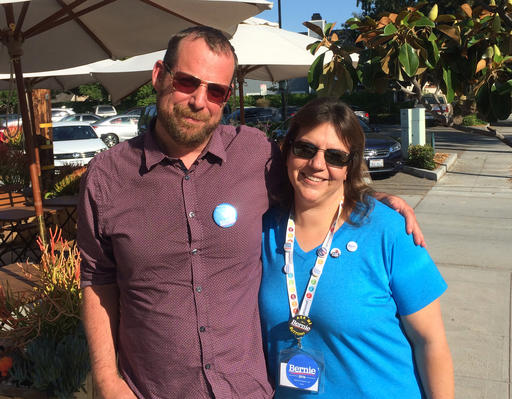 In this photo taken May 27, 2016, Bernie Sanders organizer Mary Kellerman, 41, poses outside a Burbank, Calif. coffee shop where she met with fellow campaign volunteer Buddy Totten, 45. Sanders and Hillary Clinton are in a tough race for delegates in the nation's most populous state, and the candidates are counting on droves of volunteers to help get out the vote. (AP Photo/Michael Blood)