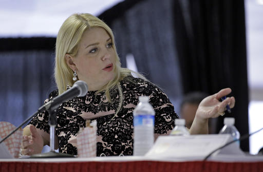 FILE - In this Feb. 5, 2015 file photo, Florida Attorney General Pam Bondi speaks in Tampa, Fla. Bondi dropped an inquiry into Donald Trump's troubled Trump University despite complaints from citizens, according to internal documents reviewed by The Associated Press. (AP Photo/Chris O'Meara, File)
