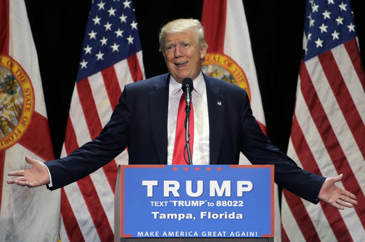Republican presidential candidate Donald Trump gestures during a campaign speech Saturday, June 11, 2016, in Tampa, Fla. (AP Photo/Chris O'Meara)