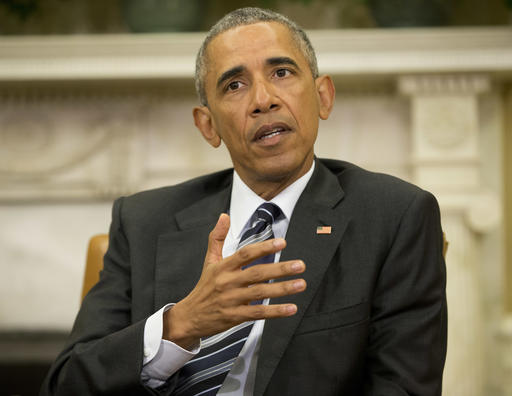 President Barack Obama speaks to members of the media in the Oval Office of the White House in Washington, Monday, June 13, 2016.  Obama said there's no clear evidence that the shooter at an Orlando nightclub was directed to conduct his attack or part of a larger plot. (AP Photo/Pablo Martinez Monsivais)