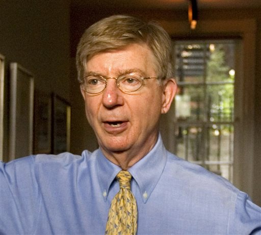 Conservative columnist and pundit George Will appears in this office in the Georgetown section of Washington.  (AP Photo/J. Scott Applewhite)