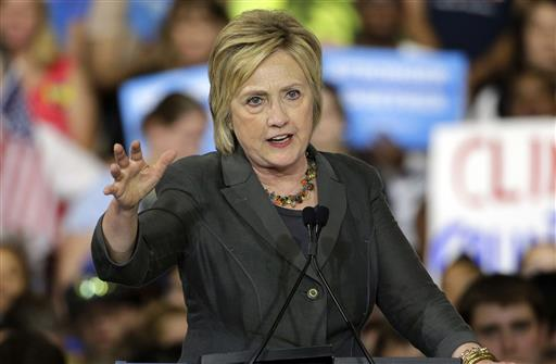 emocratic presidential candidate Hillary Clinton gestures as she speaks during a rally in Raleigh, N.C. (AP Photo/Chuck Burton)